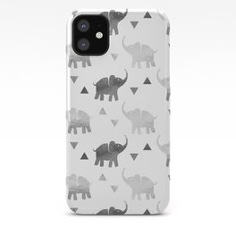 Elephants and Triangles - Silver iPhone Case