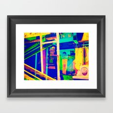 Industrial Abstract Blue Framed Art Print