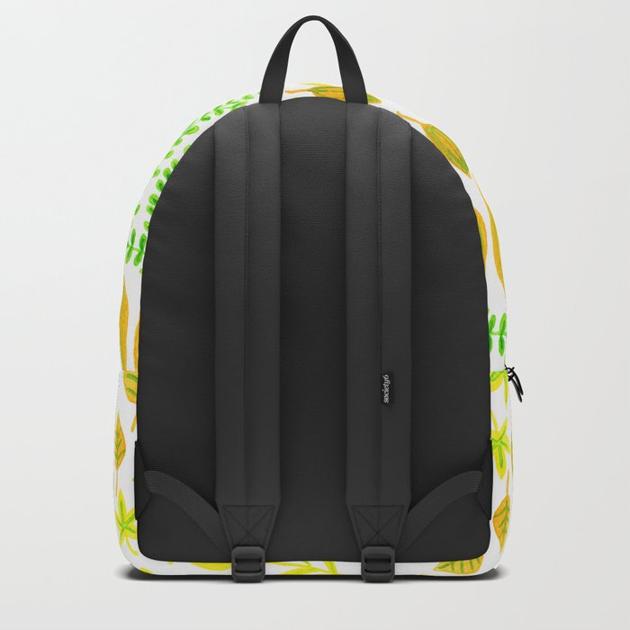 Watercolor doodle leaves pattern white Backpack