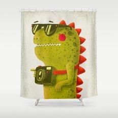 Dino touristo (olive) Shower Curtain