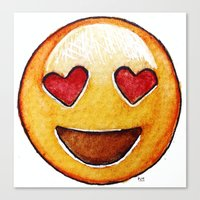 emoji Canvas Prints featuring Emoji by Willow's Art
