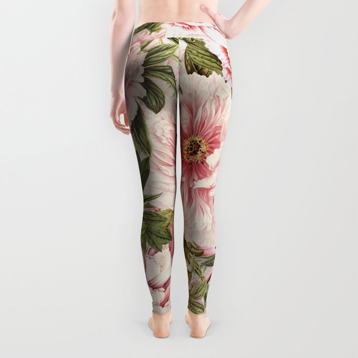 Vintage & Shabby Chic Floral Peony & Lily Flowers Watercolor Pattern Leggings