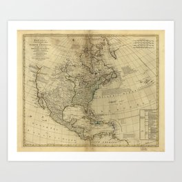 Bowles's Map of North America (1766) Art Print