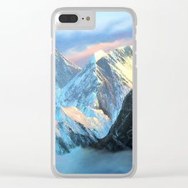 Panoramic Sunrise View Of Everest Mountain Clear iPhone Case