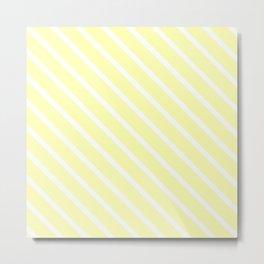 Vanilla Diagonal Stripes Metal Print