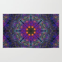 Mandala Glitch Stained Glass Rug