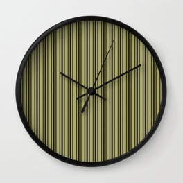 Large French Khaki Mattress Ticking Black Double Stripes Wall Clock