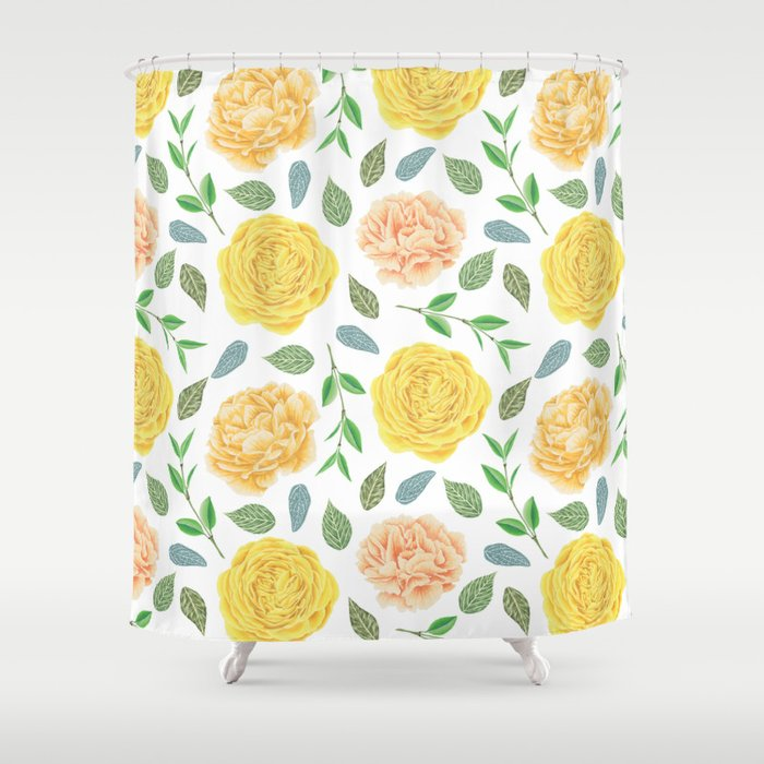 Hand Painted Yellow Coral Watercolor Modern Floral Shower Curtain By Pink Water
