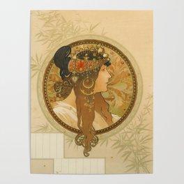 "Alphonse Mucha ""Byzantine Head: The Brunette"" Poster"