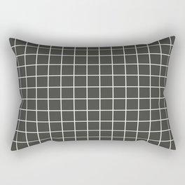 Black olive - grey color - White Lines Grid Pattern Rectangular Pillow