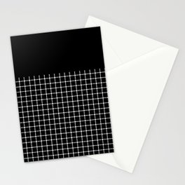 Dotted Grid Boarder Black Stationery Cards