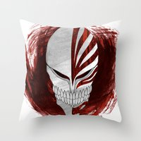 bleach Throw Pillows featuring Bleach - Hollow by Bradley Bailey