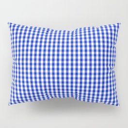Small Cobalt Blue and White Gingham Check Plaid Squared Pattern Pillow Sham