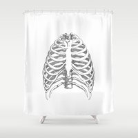 cage Shower Curtains featuring Rib cage by Stine Bergskas