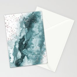 Watercolor meets Glitter - Turquoise Rose Gold - No 2 Stationery Cards