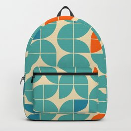 Mid century geometric floral shapes modern illustration pattern  in orange, green turquoise and aqua blue. Retro geometrical pattern sixties style Backpack