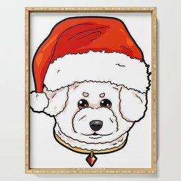 Bichon Frise Dog Christmas Hat Present Serving Tray