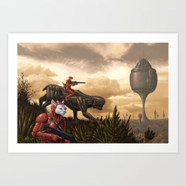 Patrolling the foothills Art Print