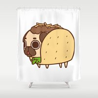 taco Shower Curtains featuring Puglie Taco by Puglie Pug