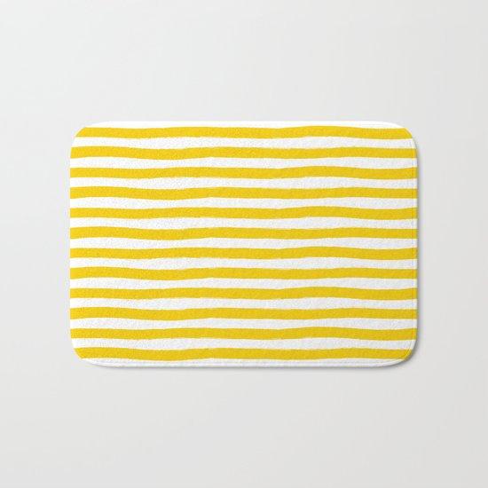 Yellow And White Horizontal Stripes Bath Mat
