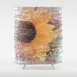 Words of Love Sunflower Shower Curtain