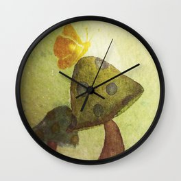 Mushroom and Butterfly in Summer by Twelve Little Tales Wall Clock