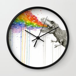 T-Rex Dinosaur Rainbow Puke Taste the Rainbow Watercolor Wall Clock