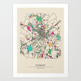 Colorful City Maps: Durham, North Carolina Art Print