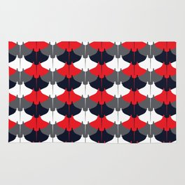 Manta Ray Pattern (Blue and Red) Rug