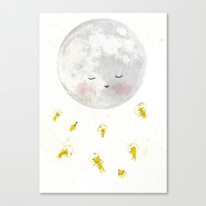 Moon and astronauts! Canvas Print