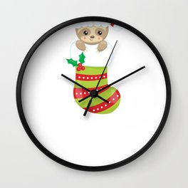 Christmas Sloth Santa Sloth in a Christmas Stocking Wall Clock