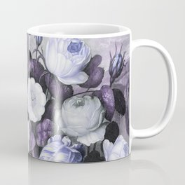 Periwinkle Roses Gray Birds Temple of Flora Coffee Mug