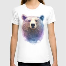 bear water color MEDIUM White Womens Fitted Tee