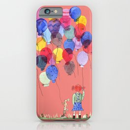 Girl with balloons whimsical illustration with a coral pink background iPhone Case
