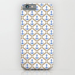 Seamless nautical pattern with blue anchors and rope on white background iPhone Case