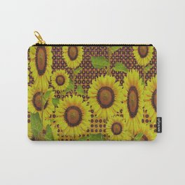 GRUBBY WORN BROWN SUNFLOWERS ART Carry-All Pouch