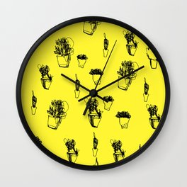 Plants and Planters botanical Wall Clock