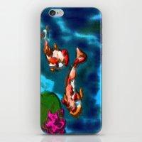 koi fish iPhone & iPod Skins featuring KOI FISH by aztosaha