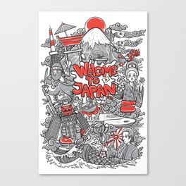 welcome to japan illustration Canvas Print