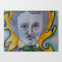 edgar allen poe Canvas Prints featuring Poe by dillpickledoe