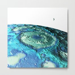 The Moon & Earth : Turquoise Blue Moon Metal Print