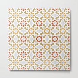 red, orange, white, brown -  Oriental design - orient  pattern - arabic style geometric mosaic Metal Print