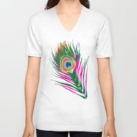 peacock feather V-neck T-shirts featuring Peacock Feather by xDiNKix