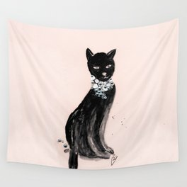 Spoiled Kitty Lifestyle Illustration Wall Tapestry