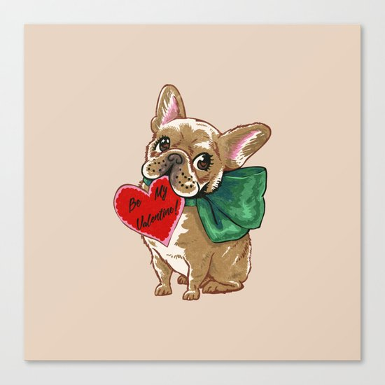 Be My Valentine Frenchie Canvas Print