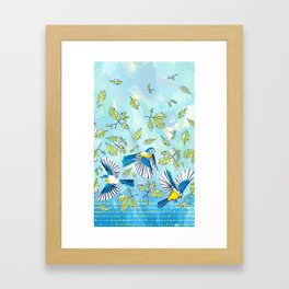 Flying Birds and Oak Leaves Border Framed Art Print