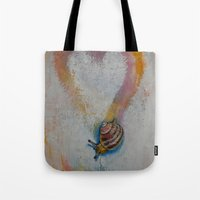 snail Tote Bags featuring Snail by Michael Creese