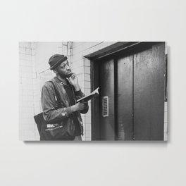 Man with a Book Waiting Elevator, B Metal Print