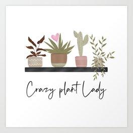 Cute house plants cactus succulents pattern illustration Art Print
