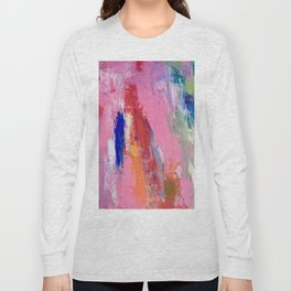 Lucky #13, a contemporary abstract in pinks and fuchsias Long Sleeve T-shirt
